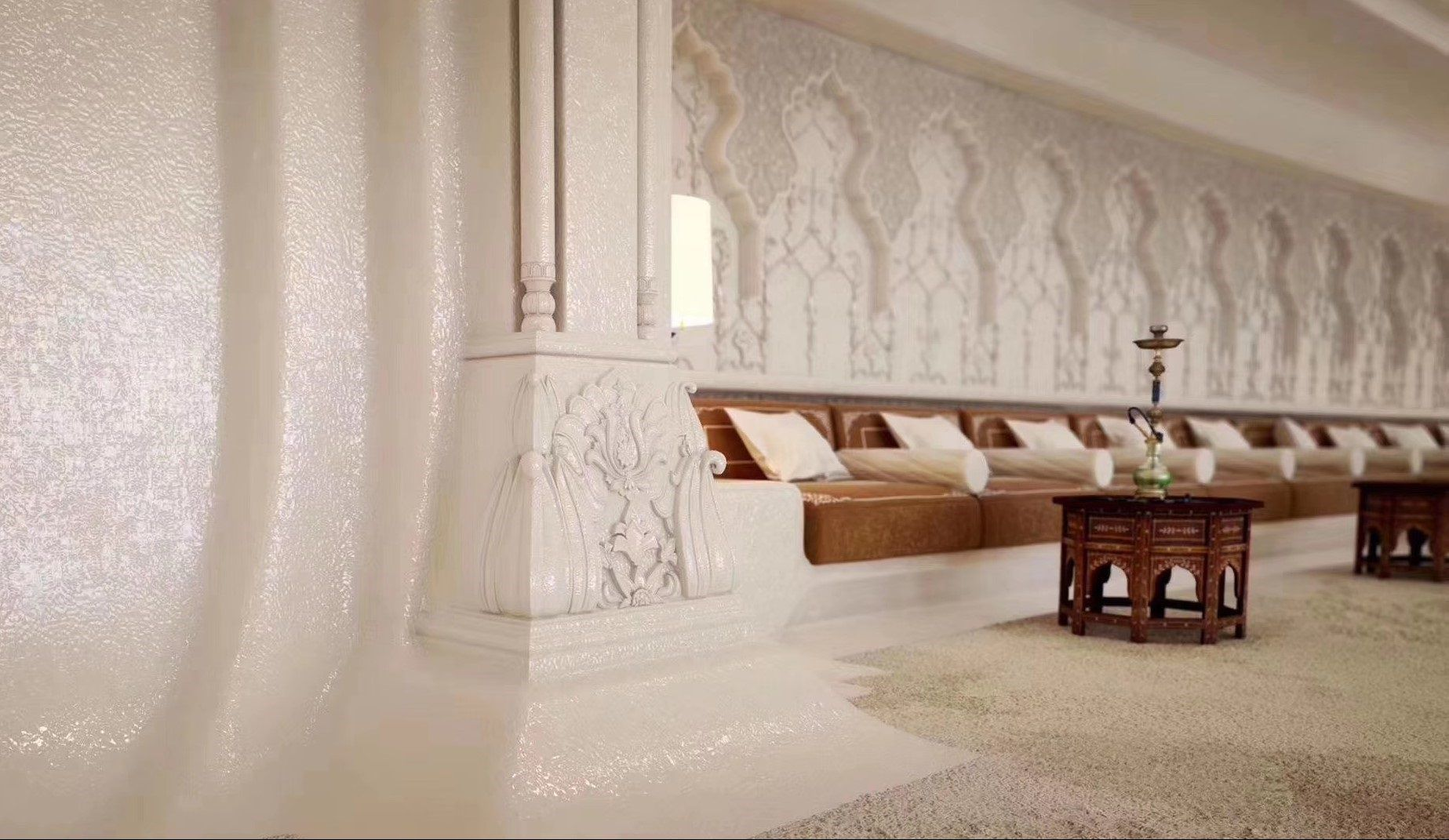 Leathered walls white marble